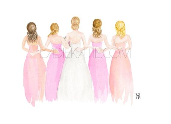 bridesmaid gift, wedding print, bride art, bride painting, tie the knot, bride print, wedding art, bride gift, bridesmaid gift