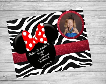 Minnie Mouse Zebra  Birthday Invitation, MINNIE MOUSE Birthday INVITATIONS, Minnie Mouse Invitation, Printable Minnie Mouse Invitation