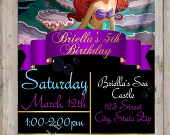 Ariel Birthday Invitation, The Little Mermaid Birthday Invitation, Disney Princess Invitation, Princess Birthday Invitation, Ariel Birthday