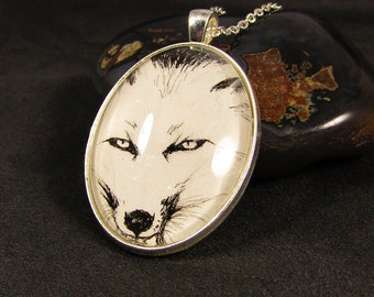 Fox Necklace, Arctic Fox Art, Arctic Fox Necklace, Arctic Fox Jewelry, Fox Jewelry, Art Necklace, Original Art, Art Jewelry, Fox Art, Fox