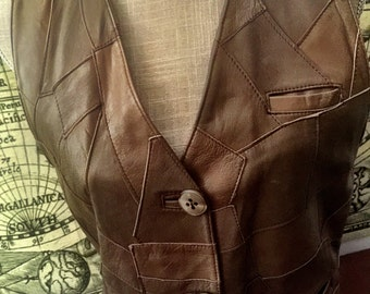 Hit the road - 80s patchwork leather waistcoat