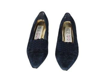 Vintage 90s Shoes, Blue Suede Shoes, Blue Leather Shoes, Kitten Heel Shoes, Navy Blue Pumps, Blue Pumps, Women's Size 6.5 Shoes, Size 6 1/2