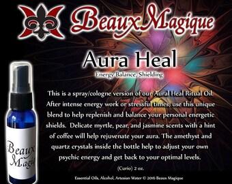 Aura Heal ~ Energy Balance, Shielding w/ Amethyst & Quartz Crystals, Aura clearing spray, pagan, aura spray, scented spiritual water