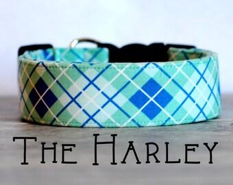 """Preppy Seafoam & Cornflower Plaid Dog Collar """"The Harley"""""""