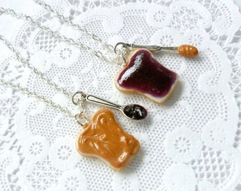 ON SALE Peanut Butter Jelly Necklace Set, Best Friend's BFF Necklace, Choice of Sterling Silver Chain, Cute :D