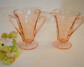 Art Deco Anchor Hocking Optic Block Cream and Sugar Set - Pink - Depression Glass Cream and Sugar -Shabby Cottage Chic Cream and Sugar Set