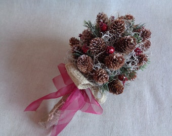 Rustic red berries and pine cone winter bridal wedding bouquet barn country woodland  bouquet cottage wedding pine cone alternative bouquet