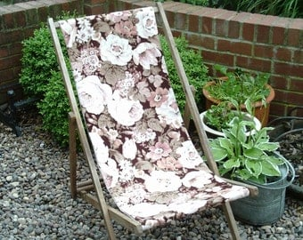 Vintage deckchair re-upholstered in Sanderson floral linen