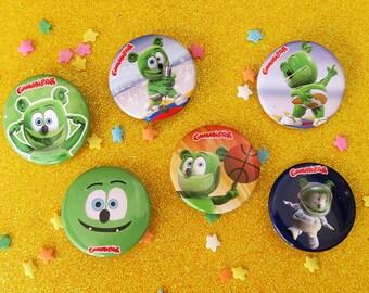Gummibär (The Gummy Bear) 6 Button Set ~ Collectible Pins ~ Cute Animated YouTube Character ~ Kawaii