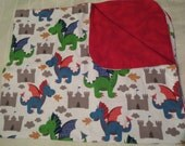 Dragon and Castle Double Sided Flannel Baby Blanket -Receiving (B4)
