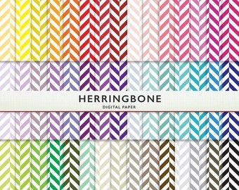 MEGA SALE Herringbone Digital Paper - 45 Sheets  - Rainbow  Scrapbooking Commercial Instant Download & Printable G7133