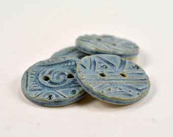 """Blue Ceramic Buttons Set of 4 Handmade Pottery Buttons 1 1/8"""" for Sewing, Knitting, Jewelry, Scrapbooking, Etc."""