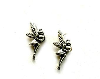 Fairy Stud Earrings antique silver Pixie post earrings Handmade Gift