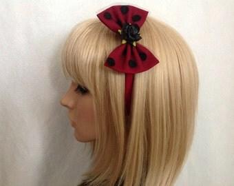 Burgundy black polka dot rose headband hair bow rockabilly psychobilly sugar gothic Lolita cute pin up girl vintage shabby chic pretty