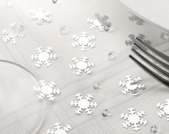 Silver and Diamond Snowflake Confetti for Christmas Table or Winter Wedding