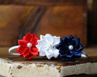 Red, White, and Blue Flower Headband, Fourth of July, photo prop, Newborn, toddler, adult
