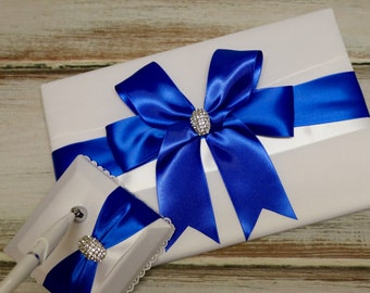 Your Color , Wedding Guest Book and Pen Stand Set, Royal Blue Guest Book,  Ivory Guest Book ,  Wedding Book ,White Guest Book