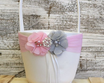 Your DESIGN ,Pink and Gray Flower Girl Basket , Wedding Basket , Flower Girl Basket
