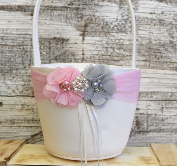 Flower Girl Basket Gray : Your design pink and gray flower girl basket wedding