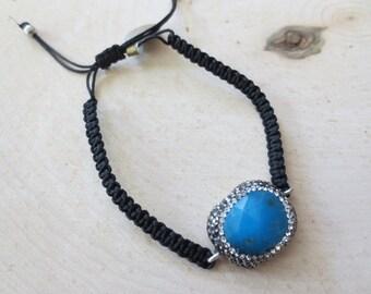 Turquoise bracelet, black bracelet, endless knot bracelet, gemstone bracelet, braided bracelet, woven bracelet, blue stone bracelet