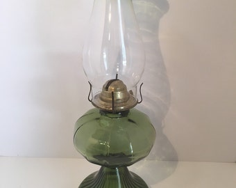 Olive Green Glass Hurricane Oil lamp  Large 1940s