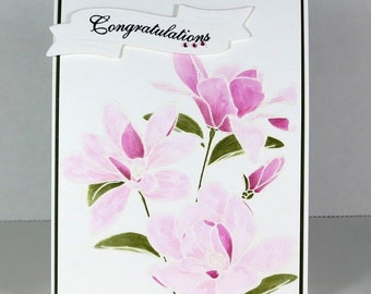 Watercolor Magnolia Congratulations Card, Handmade Card, Blank Card