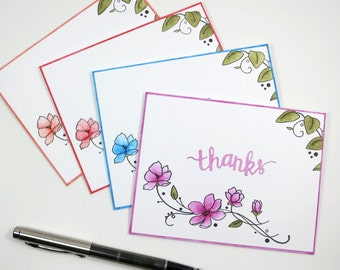 Set of Four Watercolor Thank You Notes, Thank You Notecards, Thank You Cards
