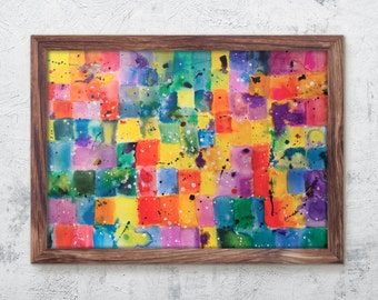 Abstract Art Print - Multicolour Watercolour & Ink Patchwork