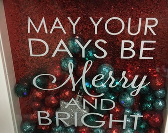 Christmas Shadow Box  may your days be merry and bright 8x8 As seen with red background