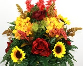 Beautiful XL Fall Roses and Sunflowers for 3 inch Standard Marker Vase