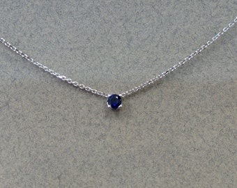Sapphire Pendant 14k White Gold/ White Gold 14k Natural Ceylon Sapphire 0.25ct Solitaire Necklace/ Natural Sapphire 0.25ct Necklace 14k WG