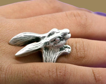 Babbit Ring, Bunny Ring, Running Jewelry, Animal Ring, Rabbit Jewelry, Bunny Jewelry, Animal Ring, Animal Jewelry, Silver Ring, Pet Ring