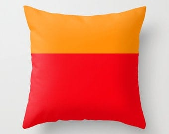 Colorblock Pillow Cover / Orange and Red Pillow Cover /  Colorblock Pillow Cover /  Decorative Pillow Cover  / Modern Pillow Cover