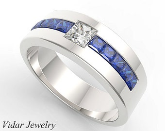 Mens Wedding Band,Unique Wedding Bands,Blue Sapphire wedding band,Diamond Wedding Ring,Princess Cut Diamond Mens Ring,unique wedding bands