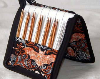 """14 pair capacity Interchangeable knitting needle and crochet hook keeper case for needles 3.5"""" to 6"""" in length, to size 10 Halloween"""