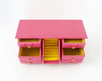 Jewelry Box Extra Large Boho Pink and Yellow Jewelry Chest