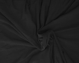 """Black Hemp Organic Cotton Fabric Jersey Knit Fabric by the Yard 69""""W 9/16"""