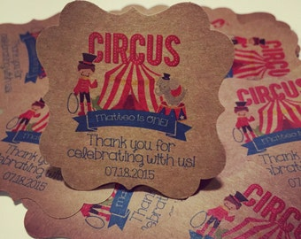 Circus Favor Tags Printable // Personalized and Custom // Birthday Favor Tags // PDF Printable file