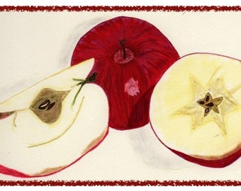 NEW! RED APPLE note card. Colorful and hand drawn