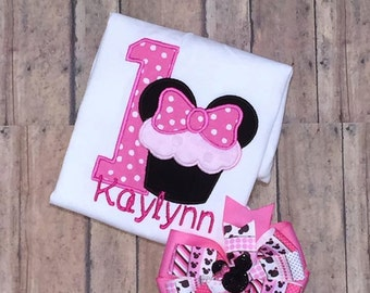 Embroidered minnie mouse first birthday shirt and hairbow