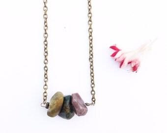Mookaite, Jasper, Earth Inspired, Beaded Choker, Mookaite Jasper, Beaded Necklace, Brass Chain