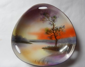 Noritake Handpainted Triangular Shape Dish, Lake Scene