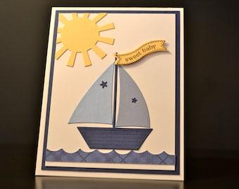 New Baby Boy Card, Baby Congratulations, Handmade Card, Nautical Baby Card, Sailboat Card