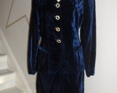 CHRISTIAN DIOR blue rayon feels like velvet blazer  and skirt  blazer would look amazing with jeans mix and match size 12