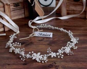 Ivory Pearl Crystal Flower Bridal Hair Vine Headband