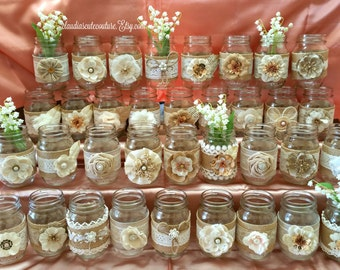 Burlap Mason jar, Rustic wedding, Country wedding, Mason jar, Wedding centerpiece, Rustic mason jar, Wedding decor, Mason jar decor