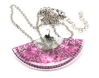 Victorian Fan necklace, translucent, made by hand in GB.