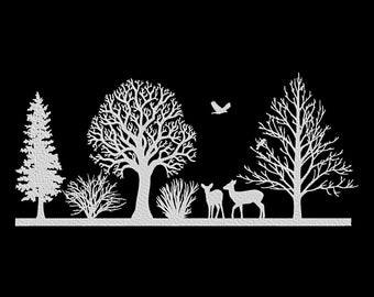Winter Trees Deer Embroidery Machine Design