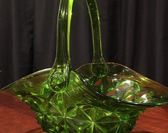 """Green Glass Basket - Candy Dish - Indiana Glass Company - Green """"Monticello"""" Pattern - 1970's-1980's"""
