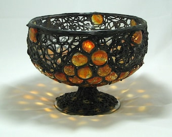 Retro Mod 1970's Bertino Handmade Bowl Encrusted with Brass and Glass Stones